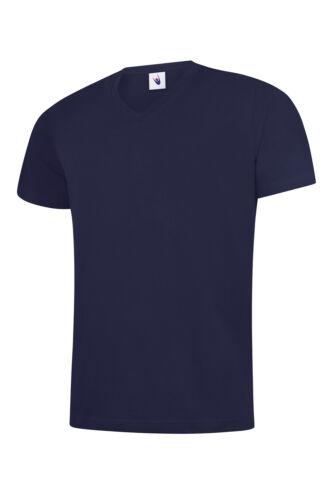 Men/'s Classic V-Neck T-shirt Soft 100/% Cotton Casual Leisure Plain Tee T SHIRT