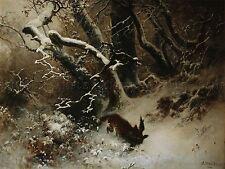 PAINTING LANDSCAPE MUNTHE WINTER FOX BIRD ART PRINT POSTER PICTURE LF584