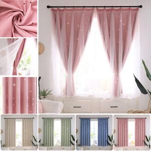 2 Layer Star Blackout Curtains Mesh Starry Curtain Room Darkening Girl Bedroom Ebay