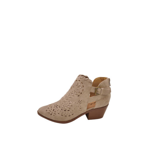 Qupid Montana 07 Taupe Women/'s Woven Perforated Western Booties