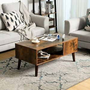 Details About Retro Coffee Table Furniture Living Room Modern Wood Rustic Brown Mid Century