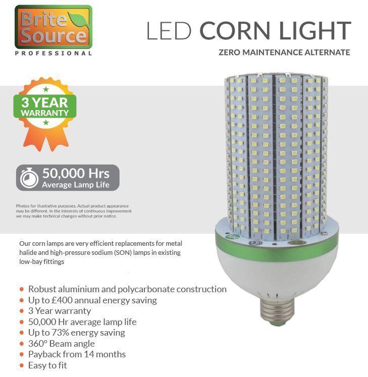 Brite Source 40W Ges E40 Tapa 6000K Lámpara LED Maíz - Sustituye 150W MH   Son