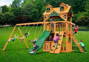 Outdoor Kids Clubhouse Swing Set With Standard Wood Roof Natural