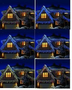 Details About 960 Christmas Bright White Led Snowing Effect Icicle Outdoor Xmas Lights Uk Plug