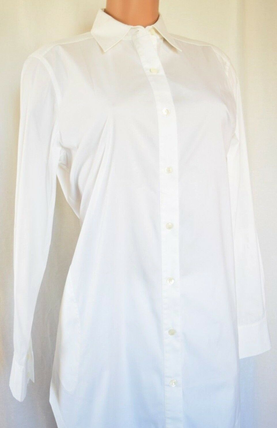 LAFAYETTE 148 WHITE COTTON LONG SLEEVES POINT COLLAR SHIRT SIZE 8
