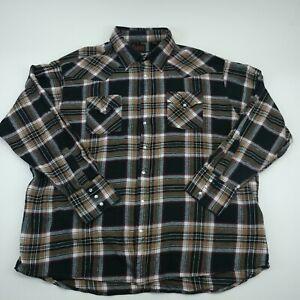 Plains-Mens-Western-Wear-Black-Long-Sleeve-Pearl-Snap-Plaid-Check-Shirt-Size-3XL