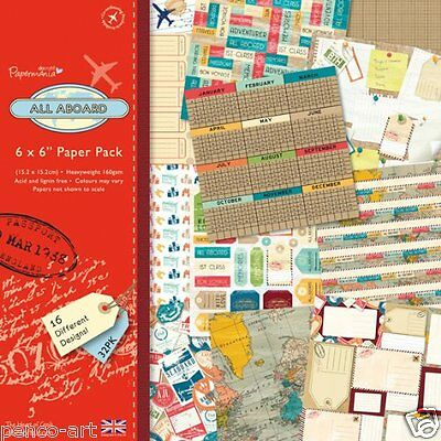 """Docrafts 6 x 6"""" scrapbooking papers All Aboard Travel 32 pk 160gsm PMA160144"""
