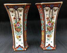 Paire de vases porcelaine de Limoges signée M.B. porcelain vase décor main
