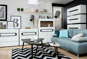 Mode 2019 Byron Living Room Furniture Collection Blanc Brillant Effet Bois Salle à Manger De Conservation-afficher Le Titre D'origine Riche Et Magnifique