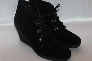 9f0246251ec NEW Nordstrom SUSINA Black Suede RAWLIN Desert Wedge Lace Up Booties ...