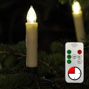 Kabellose LED Weihnachtskerzen 30er Lichterkette Kerzen Christbaumkerzen beige