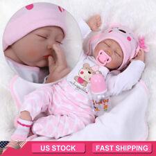 "22""Reborn Baby Doll Lifelike Newborn Silicone Vinyl Handmade Sleeping Kids Toy"