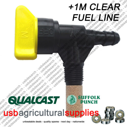 "HOSE LINE Qualcast Suffolk Punch FUEL TAP 1//4/"" LAWNMOWER NEXT DAY PETROL"