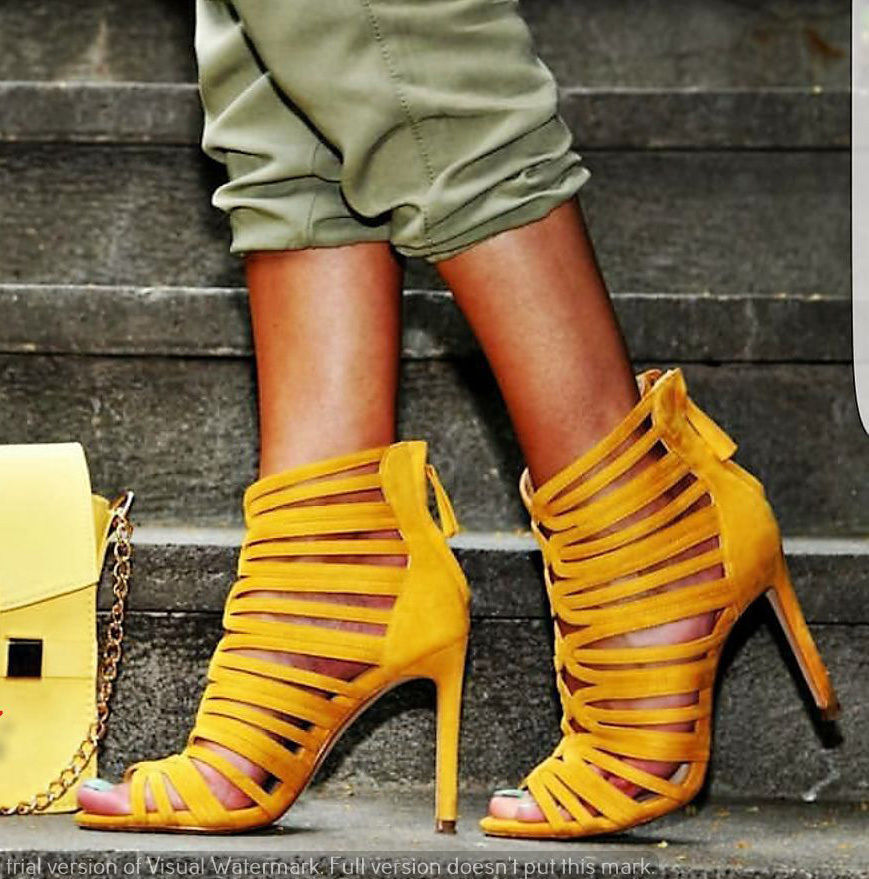 ZARA jaune MUSTARD STRAPPY HIGH HEEL SANDALS chaussures 6600 101 BLOGGERS 37 UK 4
