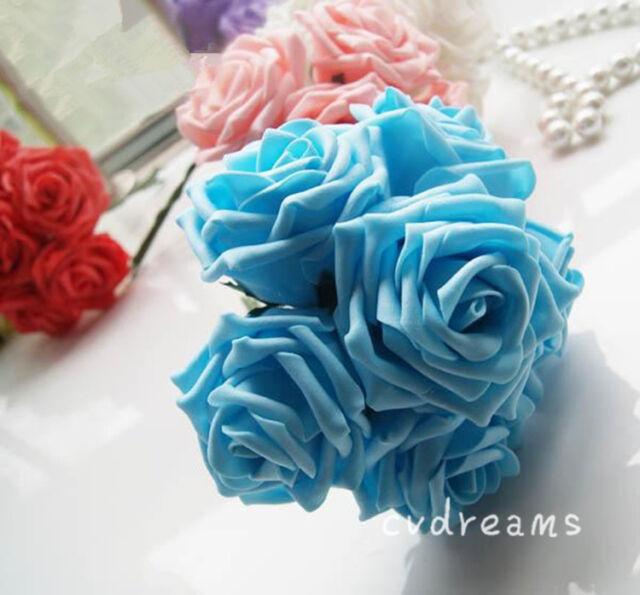 50 Colourfast Foam Roses Artificial Flower Wedding Bride Bouquet Party Decor DIY