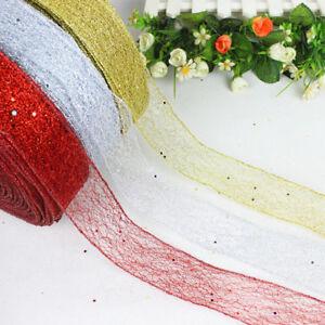 Glitter-Ribbon-Lace-Christmas-Xmas-Tree-Decor-Wedding-Party-Ornament-200-5CM