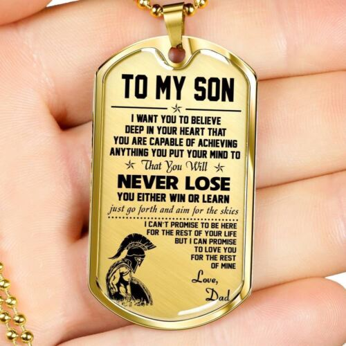Sparta Warrior Pendant Dad To My Son Luxury Necklace Dog Tag Love From Dad