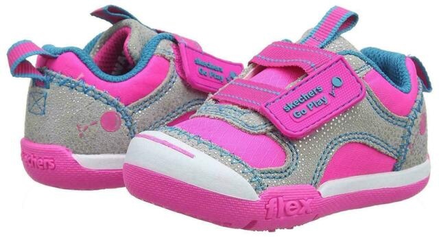 Details about Skechers Go Play 82160NGYHP Gray Hot Pink Infants Girls Shoes