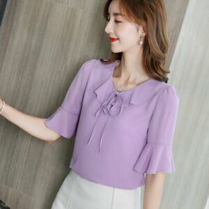 Ladies-Fashion-Short-Sleeve-Chiffon-Top-Summer-Shirt-Women-Blouse-Loose-T-Shirt