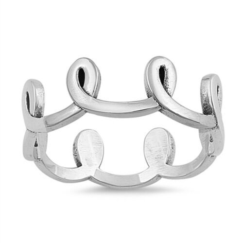 Swirl Loop Knot Thumb Simple Elegant Ring .925 Sterling Silver Band Sizes 4-10