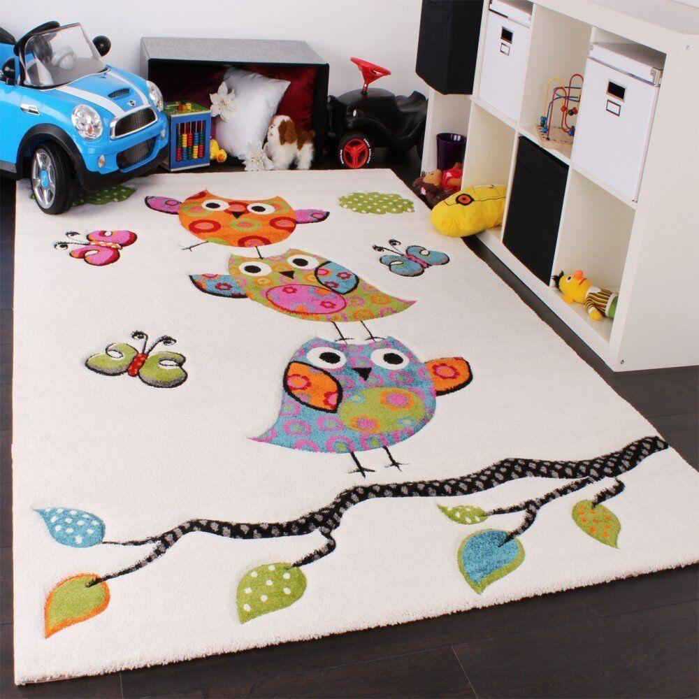 Kids OWL RUG Blanc Crème Enfants Chambre à Coucher Tapis de sol Baby Nursery Play Carpet