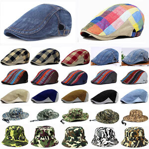 Hommes-Denim-Visiere-Ivy-Cap-Golf-Driving-Flat-Taxi-Newsboy-beret-chapeau-nouveau