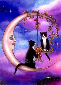 ACEO-art-print-from-art-painting-Tuxedo-Cat-586-moon-fantasy-by-L-Dumas