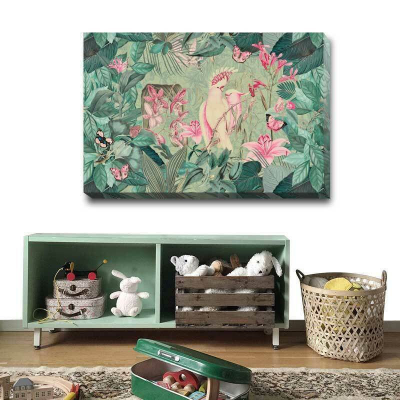 Tropical Plant Cockatoos Stretched Canvas Print Framed Nursery Wall Decor AM81