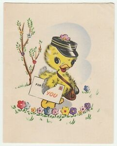 Vintage-Easter-Card-Duckling-Mailman-Flowers-Baby-Duck-Wallace-Brown