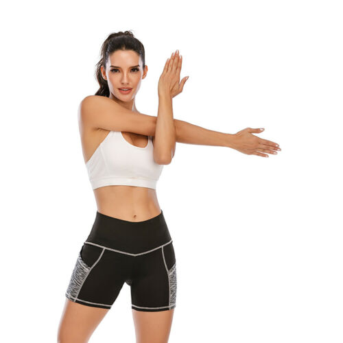 Women Fitness Bike Shorts Soft Stretch Leggings Pocket Mini Hot Pants Sports US