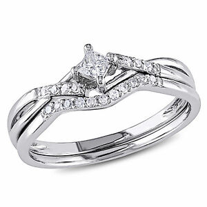10k White Gold GH 1/5 CT Princess and Round Diamonds TW Bridal Set Ring I2;I3
