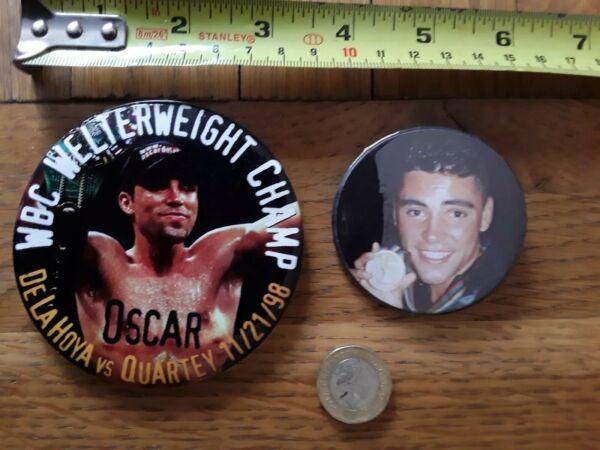* Réduit * 2 X 1990 S Boxer Osar De La Hoya Boxe Pin Back Badge Boutons Lot 11