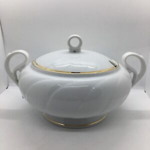 HARMONY Fine China Large Heavy White Gold Vegetable Soup Serving Tureen