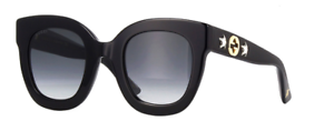 NEW-AUTHENTIC-GUCCI-GG0208S-001-BLACK-FRAME-GREY-GRADIENT-LENS-SIZE-49mm