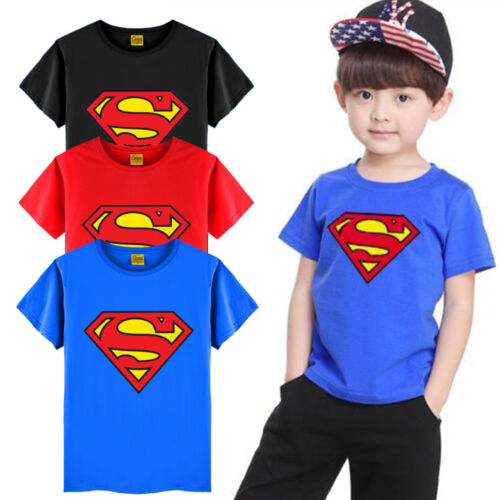 Kids Boy Superman T-Shirt Superhero Cartoon Shirts Tops Short Sleeve Printed Tee