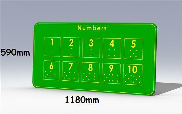 Durable Weatherproof HDPE Outdoor Playground Tactile Learning Boards NUMBERS