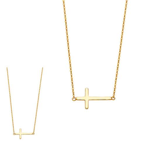 "14K Solide Or Jaune Côté Way Cross Necklace 17+1/"""