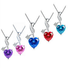 "4.03 Cttw .925 Sterling Silver Heart Cut Gemstone Pendant Necklace w/ 18"" Chain"
