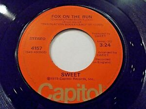 Sweet-Fox-On-The-Run-Burn-On-The-Flame-45-1974-Capitol-Vinyl-Record