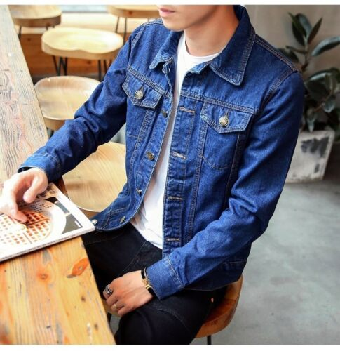 Men/'s Spring Autumn Slim Denim Jackets Coat Washed retro Jean Jacket Coats