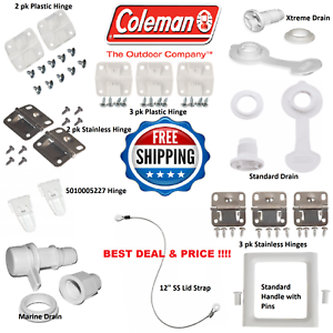 COLEMAN-COOLER-HINGES-DRAIN-PLUG-LID-STRAP-HINGE-CAP-LATCH-STAINLESS-STEEL