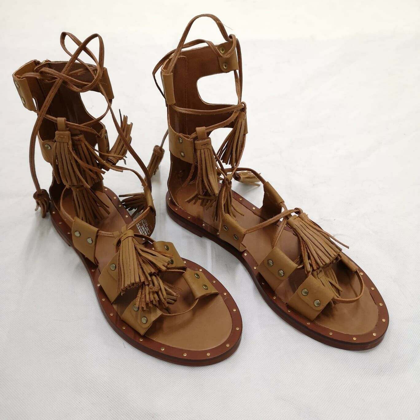ZARA Tan Lace Up Flat Leather Fringe Gladiator Sandals UK 7 Euro 40