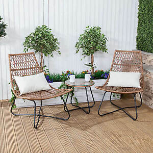 Image Is Loading Polynesian Rattan Bistro Outdoor Garden Table Amp Chairs