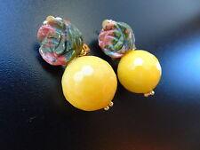 Modeschmuck Ohrringe grüne Ohrclips gold Edel Achat und Epidot, von Catia Levy