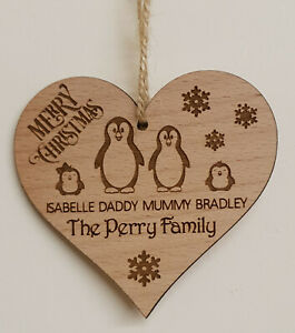 PERSONALISED-FAMILY-CHRISTMAS-DECORATION-TREE-BAUBLE-PENGUIN-MUMMY-DADDY-KIDS