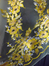 Bridal Wedding Yellow Heavy Embroidered Rhinestone Yellow Net Lace Fabric BTY