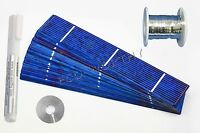 40pcs 1x6 Solar Cells for DIY 20W Solar Panel 50' Tab Wire 6' Bus Wire Flux Pen