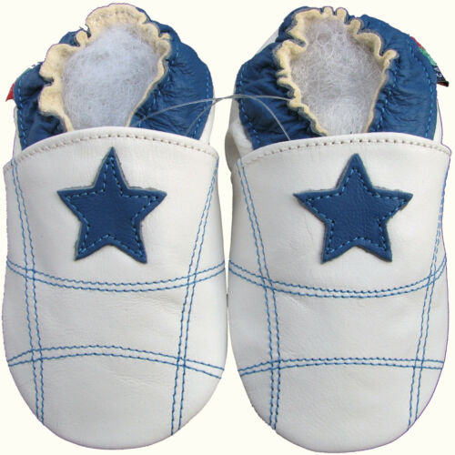 shoeszoo soft sole leather baby shoes blue star white 0-6m S