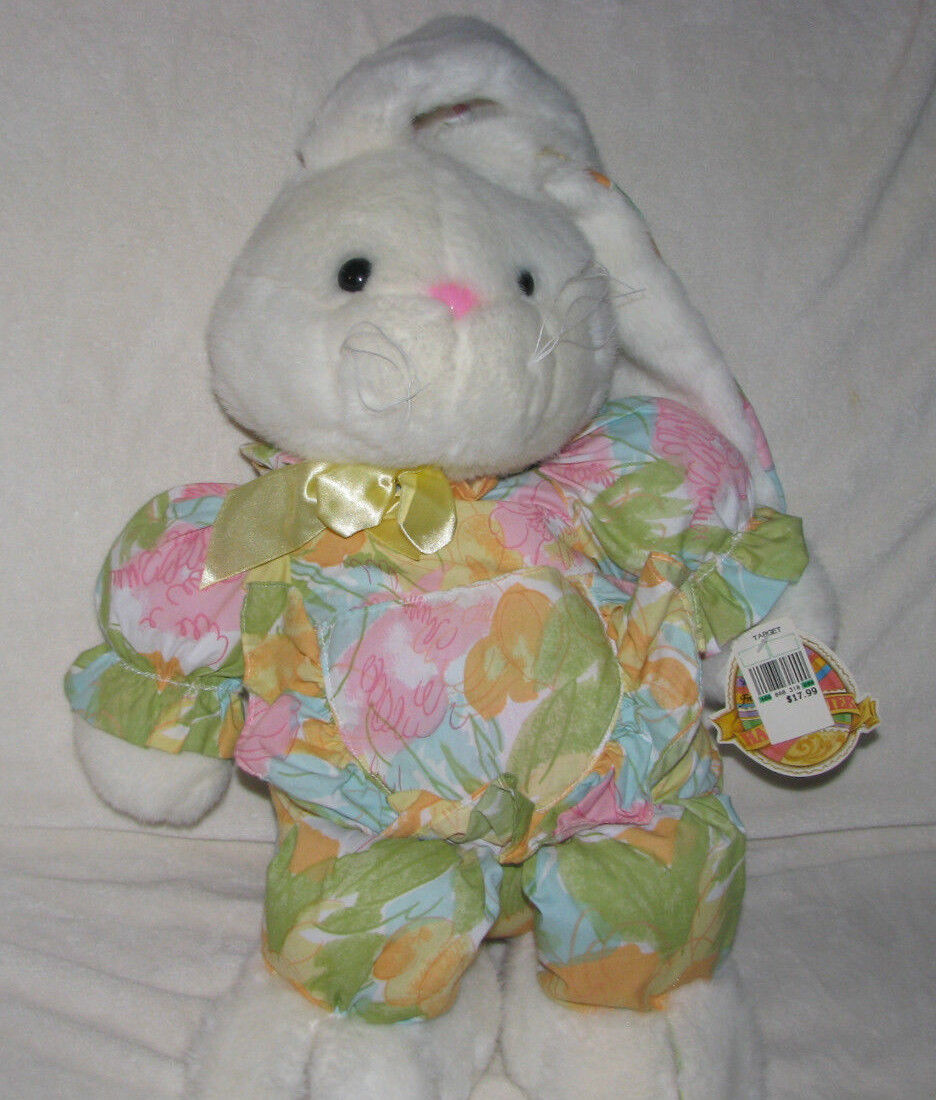 COMMONWEALTH LARGE STUFFED PLUSH EASTER BUNNY RABBIT Weiß FLORAL CLOTH PASTEL