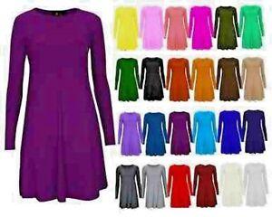 Womens-Plain-Jersey-Tartan-Print-Long-Sleeve-Ladies-Party-Swing-Skater-Dress8-24
